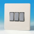 Varilight 3 Gang 1 or 2 Way 10A Rocker Light Switch Screwless Premium White Dec Switch - XDQ3S
